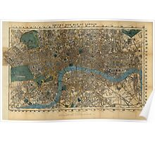 Vintage Map of London England (1860) Poster