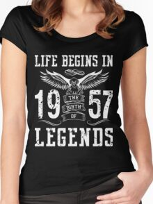 Life Begins In 1957 Birth Legends Women's Fitted Scoop T-Shirt