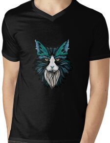 Space Cat Face Mens V-Neck T-Shirt