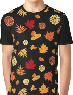 Colorful Autumn Leaves At Black Graphic T-Shirt
