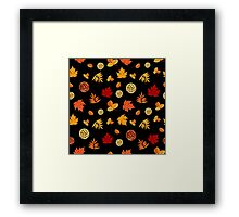 Colorful Autumn Leaves At Black Framed Print