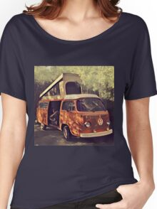 Orange Vintage VW Westfalia Camping Women's Relaxed Fit T-Shirt