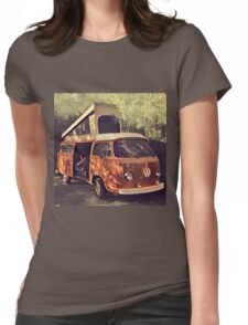 Orange Vintage VW Westfalia Camping Womens Fitted T-Shirt