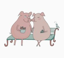 Couple of cute pigs sitting on a bench Kids Tee