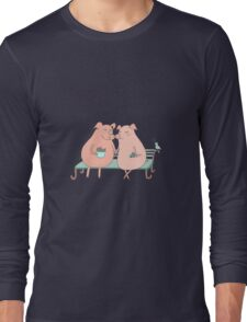 Couple of cute pigs sitting on a bench Long Sleeve T-Shirt