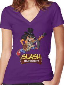Slash Bandicoot Women's Fitted V-Neck T-Shirt