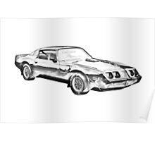 1980 Pontiac Trans Am Muscle Car Illustration Poster