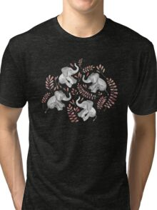 Laughing Baby Elephants – Coral Tri-blend T-Shirt
