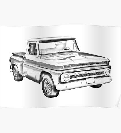 1965 Chevrolet Pickup Truck Illustration Poster