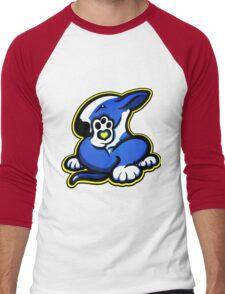 English Bull Terrier Kicking Back Blue and White Men's Baseball ¾ T-Shirt