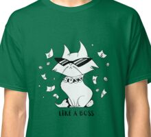 Funny cartoon cat with glasses under the rain of money. Like a boss. Classic T-Shirt
