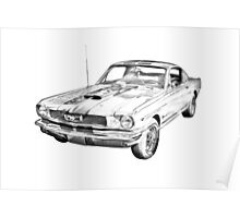 1966 Ford Mustang Fastback Illustration Poster