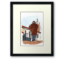 Old Man Walking in a Village in Italy - Watercolor Framed Print
