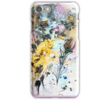 One Maple Leaf & One Peacock Feather - Rain Painting iPhone Case/Skin