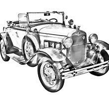 1931 Ford Model A Cabriolet Illustration by KWJphotoart