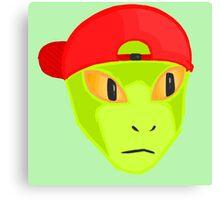 Alien Wearing Cap Tshirt Design Canvas Print