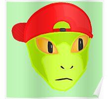 Alien Wearing Cap Tshirt Design Poster