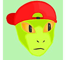 Alien Wearing Cap Tshirt Design Photographic Print
