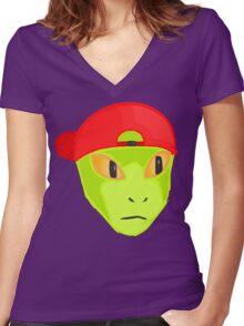 Alien Wearing Cap Tshirt Design Women's Fitted V-Neck T-Shirt