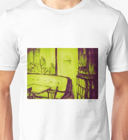 Watercolor of interior of a bar Unisex T-Shirt