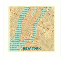 New York Map Retro Art Print