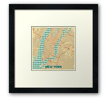 New York Map Retro Framed Print
