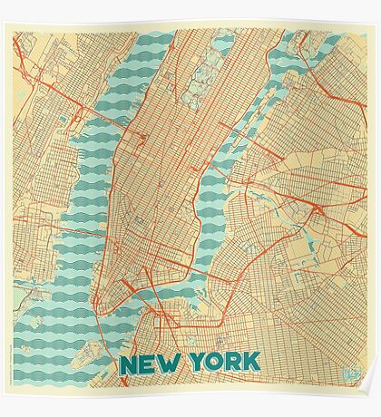 New York Map Retro Poster