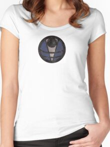First Line - Abstract - Blue Women's Fitted Scoop T-Shirt