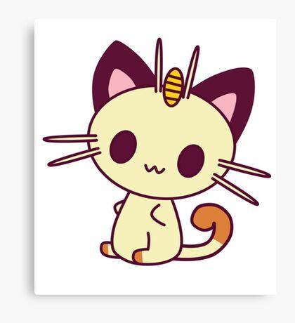 Kawaii Chibi Meowth Cat Canvas Print
