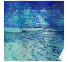 Seascape with Herman Melville Quote Poster