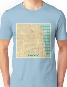 Chicago Map Retro Unisex T-Shirt