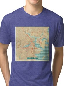 Boston Map Retro Tri-blend T-Shirt