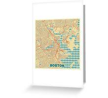 Boston Map Retro Greeting Card