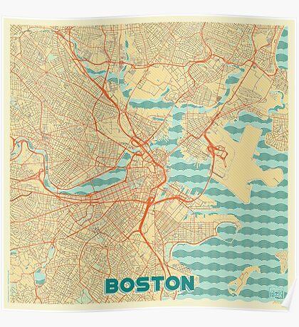 Boston Map Retro Poster
