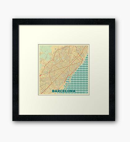 Barcelona Map Retro Framed Print