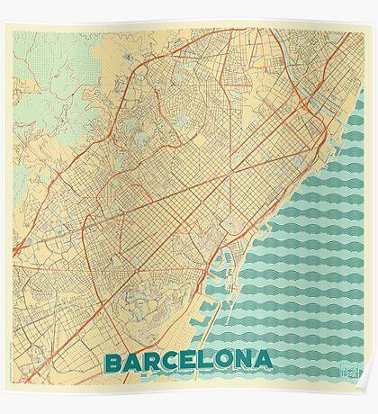 Barcelona Map Retro Poster