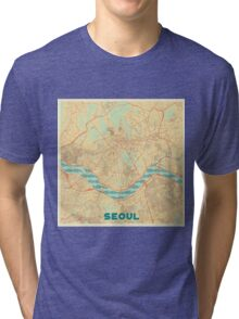 Seoul Map Retro Tri-blend T-Shirt
