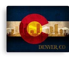 Denver Skyline Silhouette on Colorado State Flag Background Canvas Print
