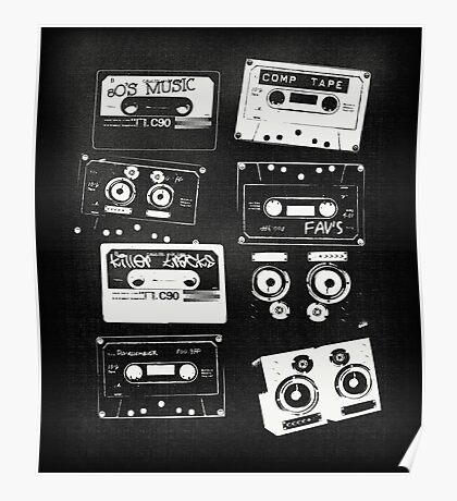Retro Cassette Tapes Poster