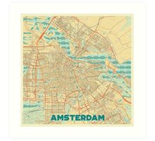 Amsterdam Map Retro Art Print