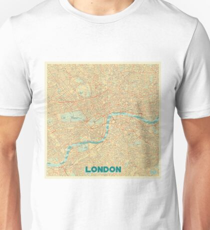 London Map Retro Unisex T-Shirt