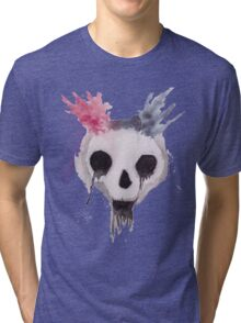 Creepy Watercolor Skull Tri-blend T-Shirt