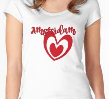 Amsterdam in red Women's Fitted Scoop T-Shirt