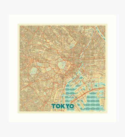 Tokyo Map Retro Art Print