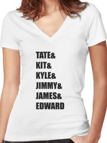 Evan Peters AHS Characters- BLACK Women's Fitted V-Neck T-Shirt