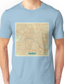 Paris Map Retro Unisex T-Shirt