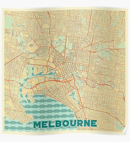 Melbourne Map Retro Poster