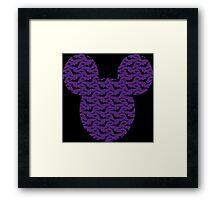 Purple Bats Pattern Halloween Edition Mickey Silhouette Framed Print