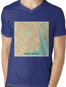 Montreal Map Retro Mens V-Neck T-Shirt