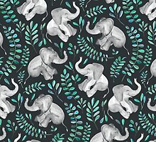 Laughing Baby Elephants – emerald and turquoise by micklyn